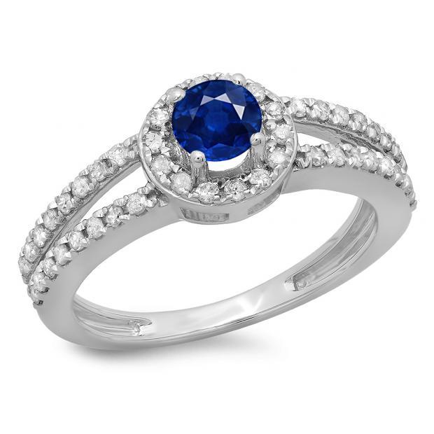 0.90 Carat (ctw) 14K White Gold Round Cut Blue Sapphire & White Diamond Ladies Bridal Split Shank Halo Style Engagement Ring