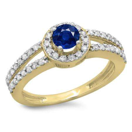 0.90 Carat (ctw) 18K Yellow Gold Round Cut Blue Sapphire & White Diamond Ladies Bridal Split Shank Halo Style Engagement Ring