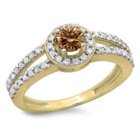 0.90 Carat (ctw) 10K Yellow Gold Round Cut Champagne & White Diamond Ladies Bridal Split Shank Halo Style Engagement Ring