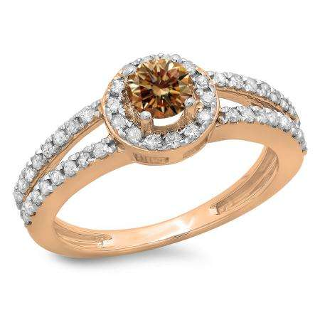 0.90 Carat (ctw) 18K Rose Gold Round Cut Champagne & White Diamond Ladies Bridal Split Shank Halo Style Engagement Ring