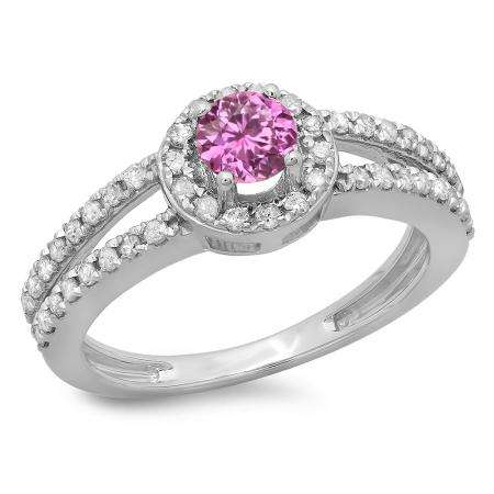 0.90 Carat (ctw) 10K White Gold Round Cut Pink Sapphire & White Diamond Ladies Bridal Split Shank Halo Style Engagement Ring