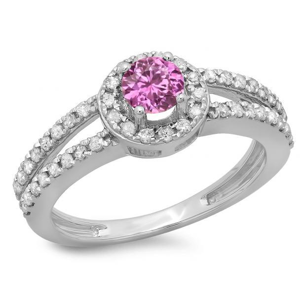 0.90 Carat (ctw) 14K White Gold Round Cut Pink Sapphire & White Diamond Ladies Bridal Split Shank Halo Style Engagement Ring