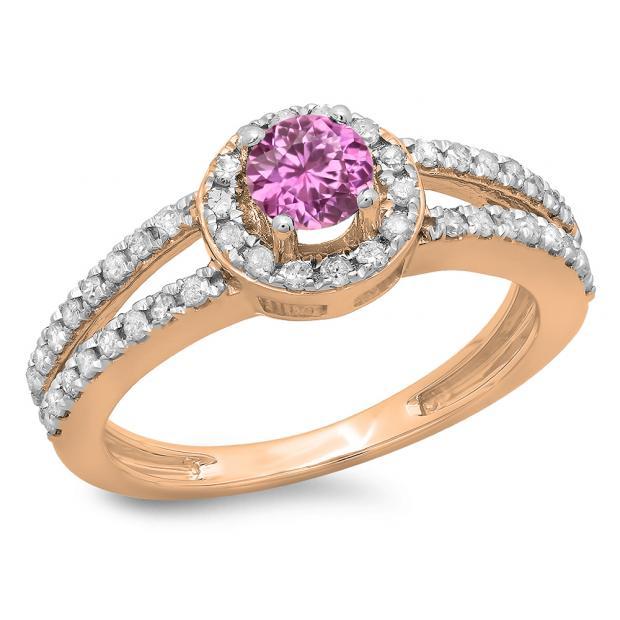 0.90 Carat (ctw) 18K Rose Gold Round Cut Pink Sapphire & White Diamond Ladies Bridal Split Shank Halo Style Engagement Ring