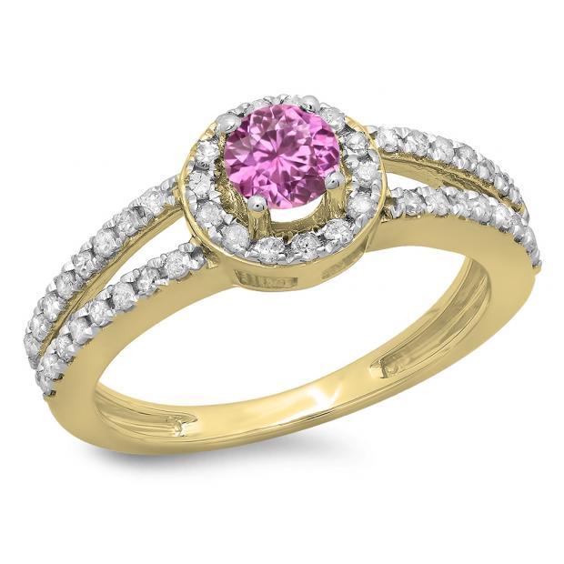 0.90 Carat (ctw) 18K Yellow Gold Round Cut Pink Sapphire & White Diamond Ladies Bridal Split Shank Halo Style Engagement Ring