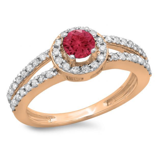 0.90 Carat (ctw) 10K Rose Gold Round Cut Red Ruby & White Diamond Ladies Bridal Split Shank Halo Style Engagement Ring