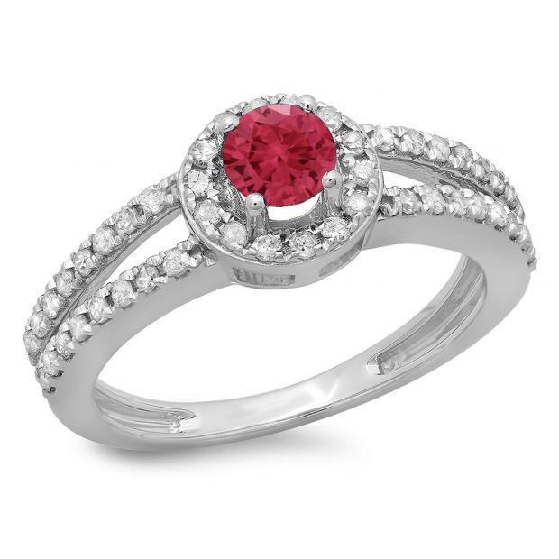 0.90 Carat (ctw) 10K White Gold Round Cut Red Ruby & White Diamond Ladies Bridal Split Shank Halo Style Engagement Ring