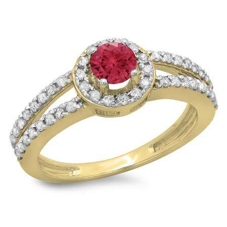 0.90 Carat (ctw) 10K Yellow Gold Round Cut Red Ruby & White Diamond Ladies Bridal Split Shank Halo Style Engagement Ring
