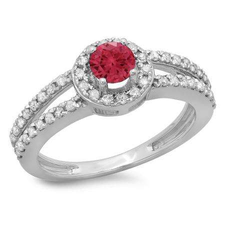 0.90 Carat (ctw) 14K White Gold Round Cut Red Ruby & White Diamond Ladies Bridal Split Shank Halo Style Engagement Ring