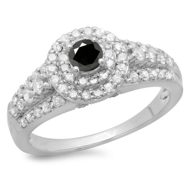 1.00 Carat (ctw) 14K White Gold Round Cut Black & White Diamond Ladies Vintage Style Bridal Halo Engagement Ring 1 CT