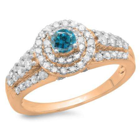 1.00 Carat (ctw) 18K Rose Gold Round Cut Blue & White Diamond Ladies Vintage Style Bridal Halo Engagement Ring 1 CT