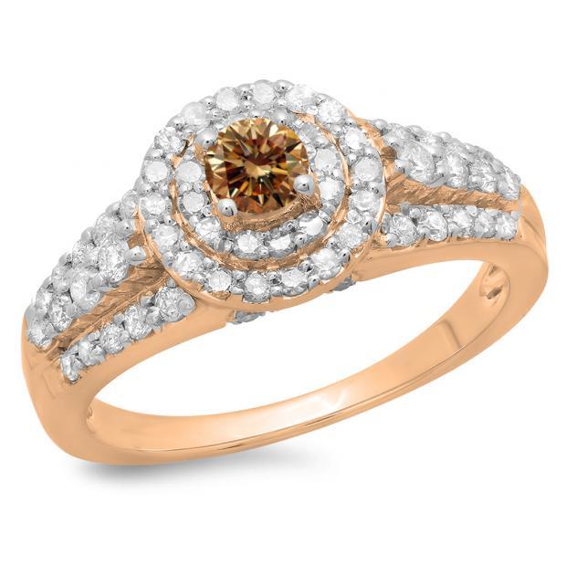1.00 Carat (ctw) 18K Rose Gold Round Cut Champagne & White Diamond Ladies Vintage Style Bridal Halo Engagement Ring 1 CT