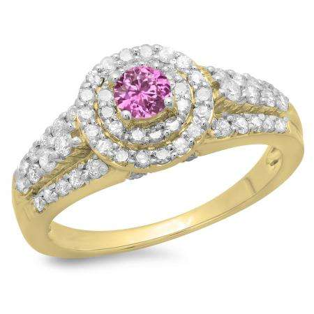 1.00 Carat (ctw) 10K Yellow Gold Round Cut Pink Sapphire & White Diamond Ladies Vintage Style Bridal Halo Engagement Ring 1 CT