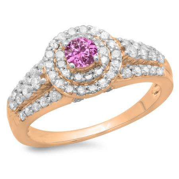 1.00 Carat (ctw) 18K Rose Gold Round Cut Pink Sapphire & White Diamond Ladies Vintage Style Bridal Halo Engagement Ring 1 CT