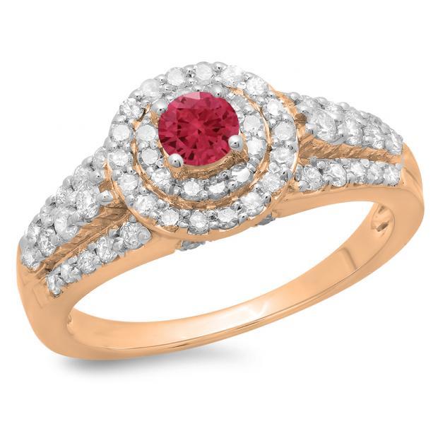1.00 Carat (ctw) 14K Rose Gold Round Cut Red Ruby & White Diamond Ladies Vintage Style Bridal Halo Engagement Ring 1 CT