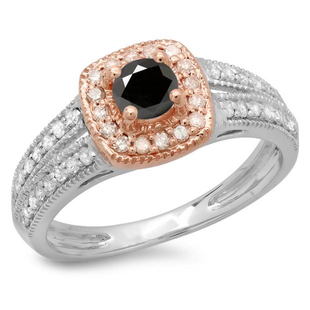 0.75 Carat (ctw) 14K Two Tone Gold Round Cut Black & White Diamond Ladies Split Shank Bridal Halo Engagement Ring 3/4 CT