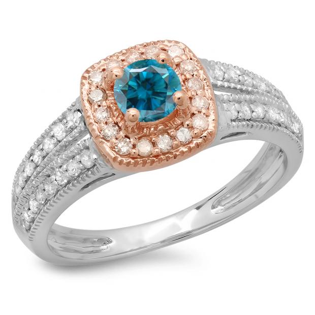 0.75 Carat (ctw) 18K Two Tone Gold Round Cut Blue & White Diamond Ladies Split Shank Bridal Halo Engagement Ring 3/4 CT