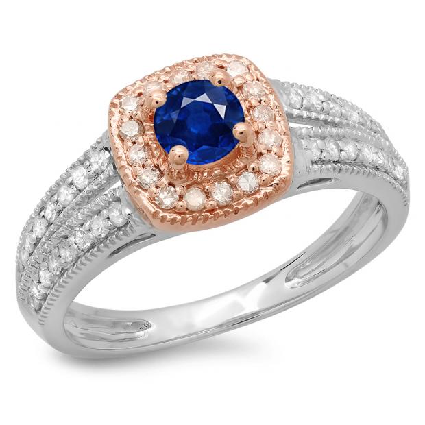 0.75 Carat (ctw) 14K Two Tone Gold Round Cut Blue Sapphire & White Diamond Ladies Split Shank Bridal Halo Engagement Ring 3/4 CT