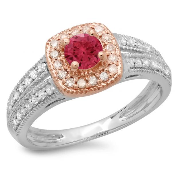 0.75 Carat (ctw) 14K Two Tone Gold Round Cut Red Ruby & White Diamond Ladies Split Shank Bridal Halo Engagement Ring 3/4 CT