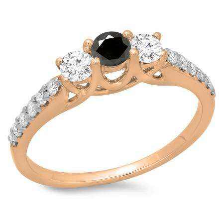 0.75 Carat (ctw) 14K Rose Gold Round Cut Black & White Diamond Ladies Bridal 3 Stone Engagement Ring 3/4 CT