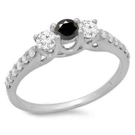 0.75 Carat (ctw) 18K White Gold Round Cut Black & White Diamond Ladies Bridal 3 Stone Engagement Ring 3/4 CT