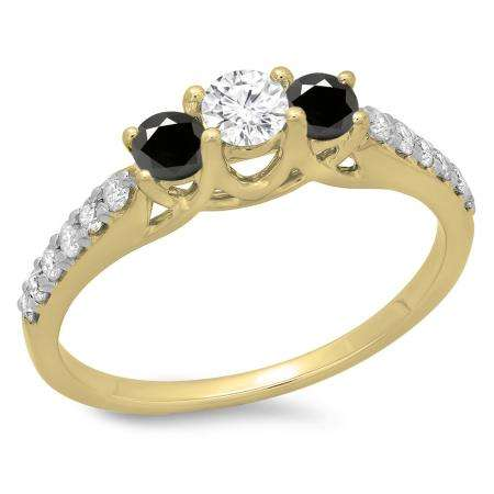0.75 Carat (ctw) 18K Yellow Gold Round Cut Black & White Diamond Ladies Bridal 3 Stone Engagement Ring 3/4 CT