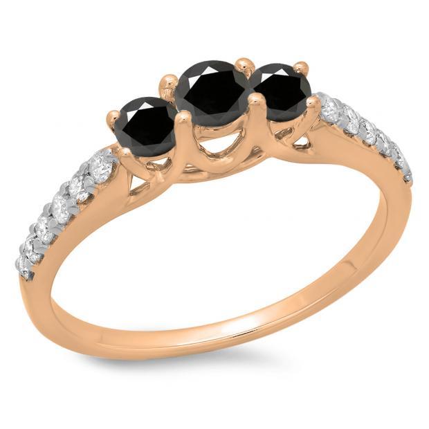0.75 Carat (ctw) 10K Rose Gold Round Cut Black & White Diamond Ladies Bridal 3 Stone Engagement Ring 3/4 CT