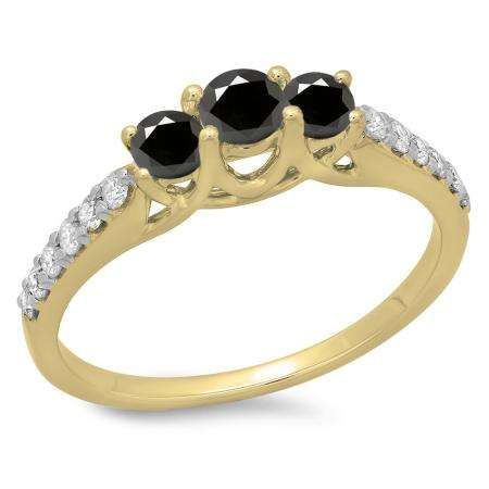 0.75 Carat (ctw) 14K Yellow Gold Round Cut Black & White Diamond Ladies Bridal 3 Stone Engagement Ring 3/4 CT