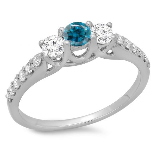 0.75 Carat (ctw) 14K White Gold Round Cut Blue & White Diamond Ladies Bridal 3 Stone Engagement Ring 3/4 CT