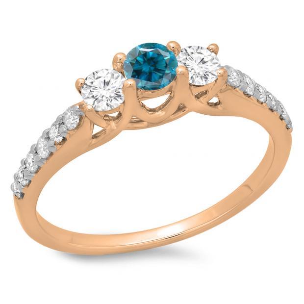 0.75 Carat (ctw) 18K Rose Gold Round Cut Blue & White Diamond Ladies Bridal 3 Stone Engagement Ring 3/4 CT