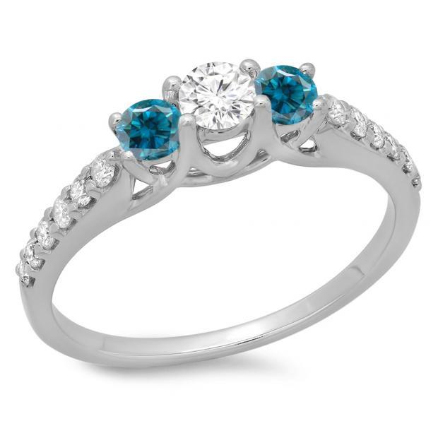 0.75 Carat (ctw) 18K White Gold Round Cut Blue & White Diamond Ladies Bridal 3 Stone Engagement Ring 3/4 CT