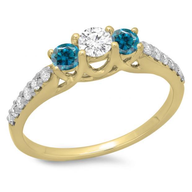 0.75 Carat (ctw) 18K Yellow Gold Round Cut Blue & White Diamond Ladies Bridal 3 Stone Engagement Ring 3/4 CT