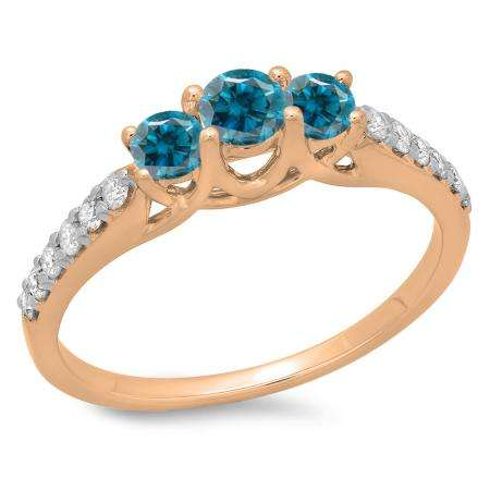 0.75 Carat (ctw) 10K Rose Gold Round Cut Blue & White Diamond Ladies Bridal 3 Stone Engagement Ring 3/4 CT