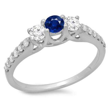 0.75 Carat (ctw) 18K White Gold Round Cut Blue Sapphire & White Diamond Ladies Bridal 3 Stone Engagement Ring 3/4 CT
