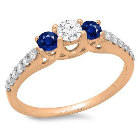 0.75 Carat (ctw) 14K Rose Gold Round Cut Blue Sapphire & White Diamond Ladies Bridal 3 Stone Engagement Ring 3/4 CT
