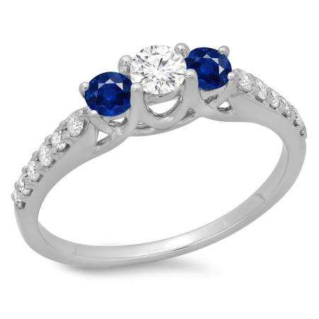0.75 Carat (ctw) 14K White Gold Round Cut Blue Sapphire & White Diamond Ladies Bridal 3 Stone Engagement Ring 3/4 CT