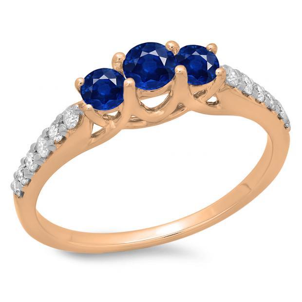 0.75 Carat (ctw) 14K Rose Gold Round Cut Blue Sapphire & White Diamond Ladies Bridal 3 Stone Engagement Ring 3/4 CT