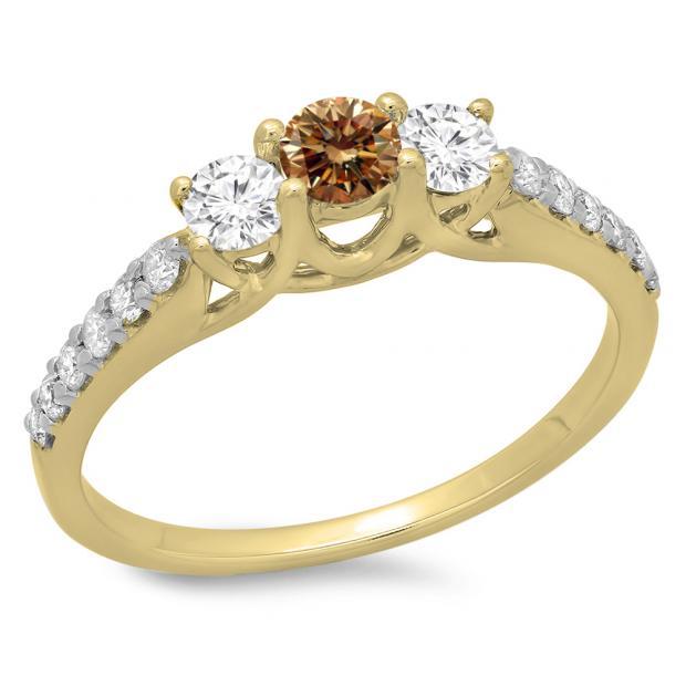 0.75 Carat (ctw) 18K Yellow Gold Round Cut Champagne & White Diamond Ladies Bridal 3 Stone Engagement Ring 3/4 CT