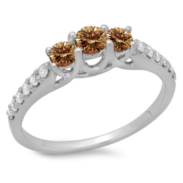0.75 Carat (ctw) 18K White Gold Round Cut Champagne & White Diamond Ladies Bridal 3 Stone Engagement Ring 3/4 CT