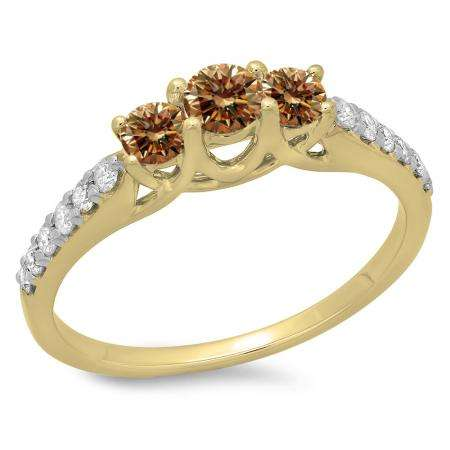0.75 Carat (ctw) 18K Yellow Gold Round Cut Champagne & White Diamond Ladies Bridal 3 Stone Engagement Ring 3/4 CT
