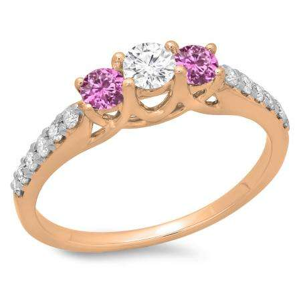 0.75 Carat (ctw) 10K Rose Gold Round Cut Pink Sapphire & White Diamond Ladies Bridal 3 Stone Engagement Ring 3/4 CT