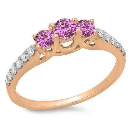 0.75 Carat (ctw) 14K Rose Gold Round Cut Pink Sapphire & White Diamond Ladies Bridal 3 Stone Engagement Ring 3/4 CT