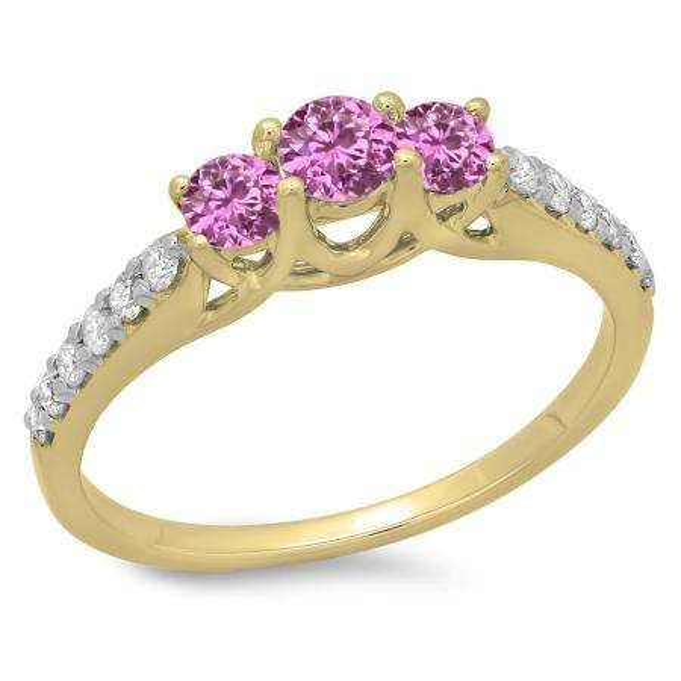0.75 Carat (ctw) 14K Yellow Gold Round Cut Pink Sapphire & White Diamond Ladies Bridal 3 Stone Engagement Ring 3/4 CT