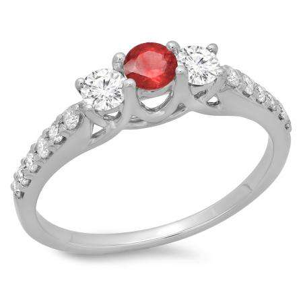 0.75 Carat (ctw) 10K White Gold Round Cut Red Ruby & White Diamond Ladies Bridal 3 Stone Engagement Ring 3/4 CT