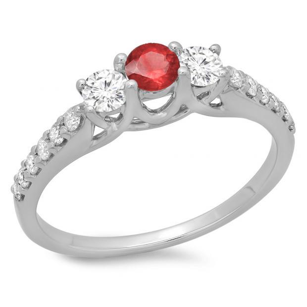 0.75 Carat (ctw) 18K White Gold Round Cut Red Ruby & White Diamond Ladies Bridal 3 Stone Engagement Ring 3/4 CT