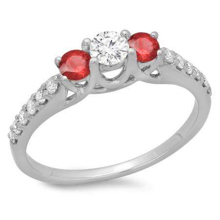 0.75 Carat (ctw) 14K White Gold Round Cut Red Ruby & White Diamond Ladies Bridal 3 Stone Engagement Ring 3/4 CT