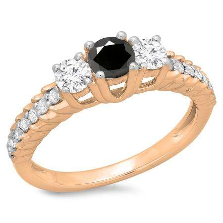 1.00 Carat (ctw) 10K Rose Gold Round Cut Black & White Diamond Ladies Bridal 3 Stone Engagement Ring 1 CT