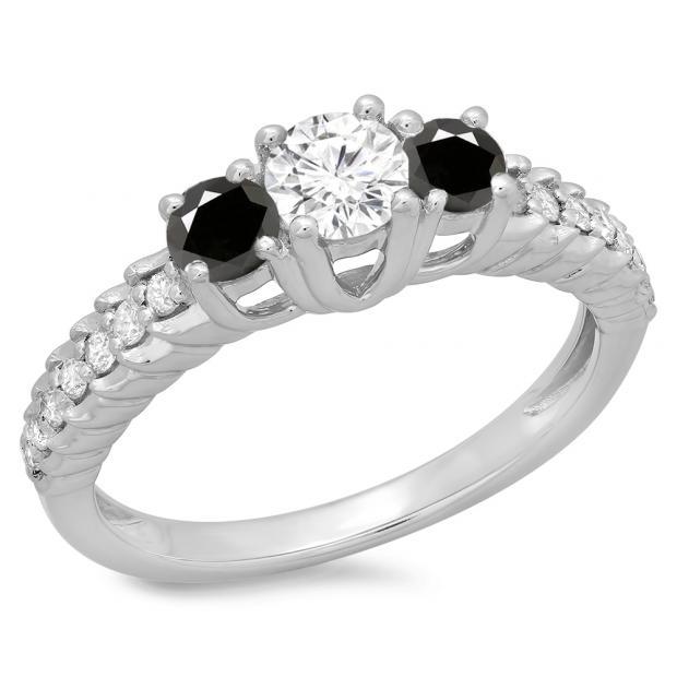 1.00 Carat (ctw) 10K White Gold Round Cut Black & White Diamond Ladies Bridal 3 Stone Engagement Ring 1 CT