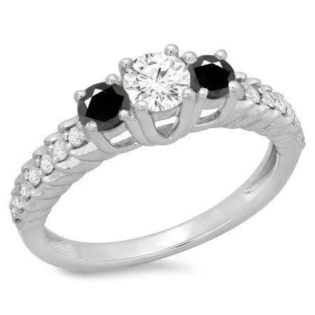 1.00 Carat (ctw) 14K White Gold Round Cut Black & White Diamond Ladies Bridal 3 Stone Engagement Ring 1 CT