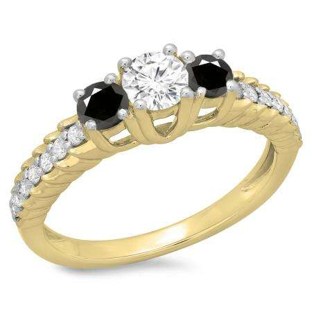 1.00 Carat (ctw) 14K Yellow Gold Round Cut Black & White Diamond Ladies Bridal 3 Stone Engagement Ring 1 CT