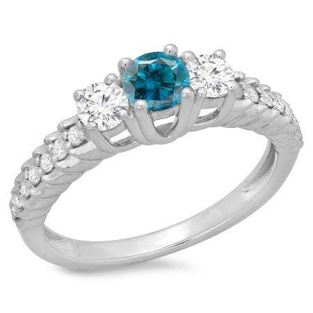 1.00 Carat (ctw) 10K White Gold Round Cut Blue & White Diamond Ladies Bridal 3 Stone Engagement Ring 1 CT